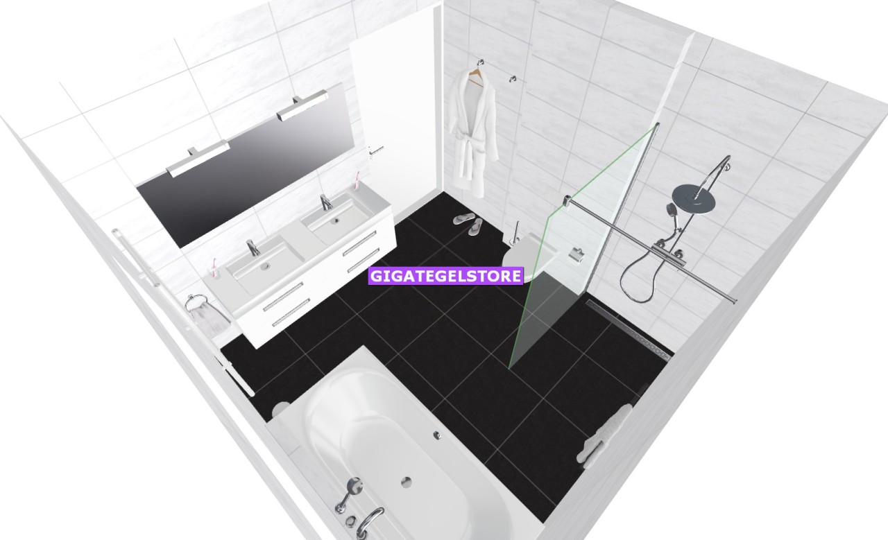 Gigategelstore sanitair badkamer - Badkamer lengte plan ...
